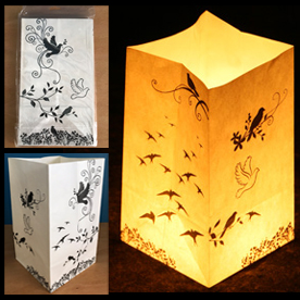 Black & White Birds Candle Lanterns