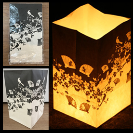 Black & White Flowers Candle Lanterns
